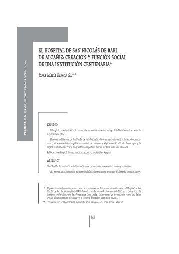 el hospital de san nicolás de bari de alcañiz - Revista Teruel ...