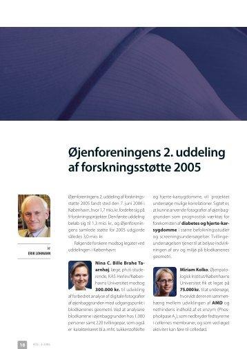 Øjenforeningens 2. uddeling af forskningsstøtte 2005