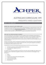 AUSTRALIAN CURRICULUM: HPE - ACHPER QLD