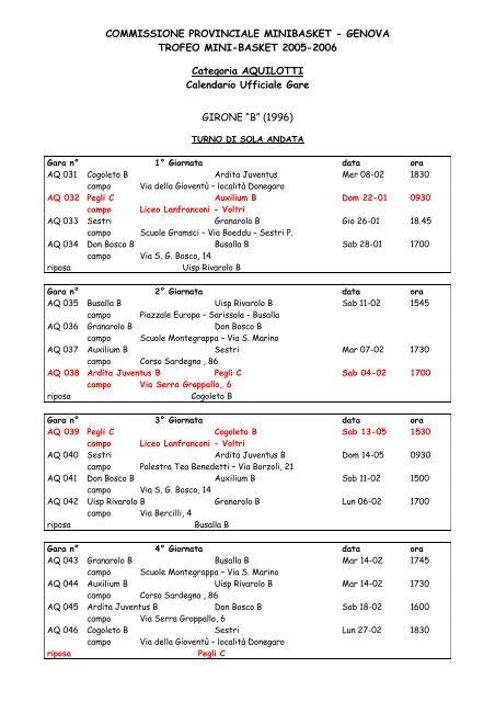 Calendario Completo.Calendario Completo Aquilotti Jr Basket Pegli