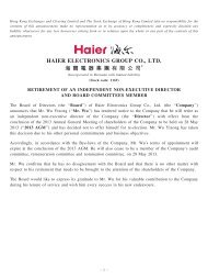 retirement of an independent non-executive director and ... - Haier