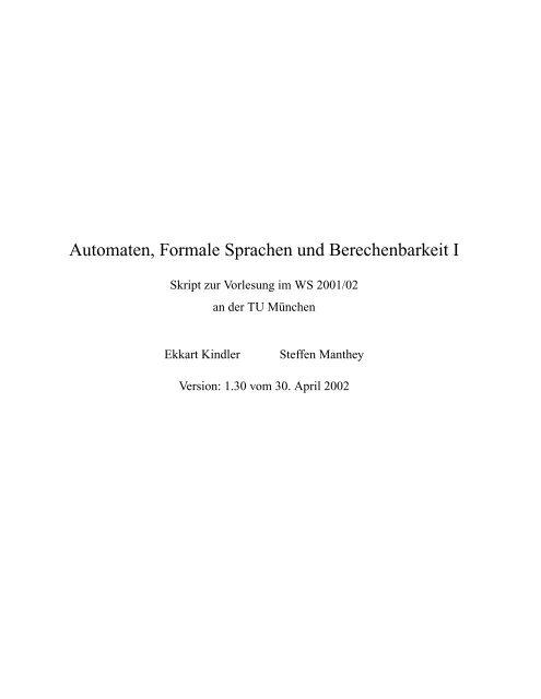 Automaten, Formale Sprachen und Berechenbarkeit I
