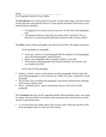 outline for analytical essay