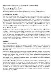 104. Impuls – Woche vom 28. Oktober – 3. November 2012 Thema ...