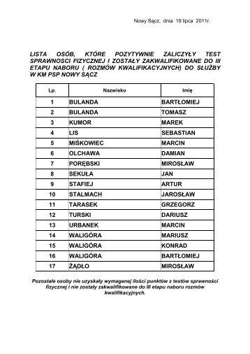 Lista osób zakwalifikowanych do III etapu naboru ... - PSP Nowy Sącz