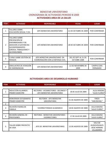 bienestar universitario cronograma de actividades periodo b-2009 ...