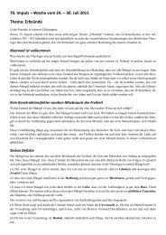 70. Impuls – Woche vom 24. – 30. Juli 2011 Thema: Erbsünde
