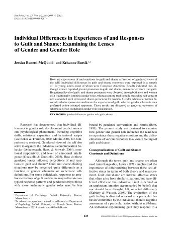 Individual Differences in Experiences of and Responses to Guilt and ...