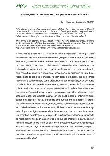 A formação do artista no Brasil: uma problemática em ... - anpap