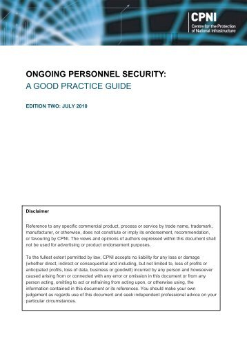 Ongoing personnel security: a good practice guide - CPNI