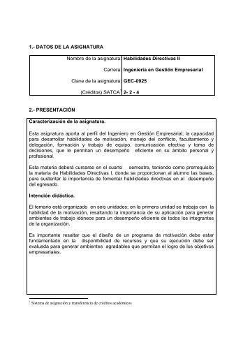 Habilidades Directivas II - Instituto Tecnologico de Torreón