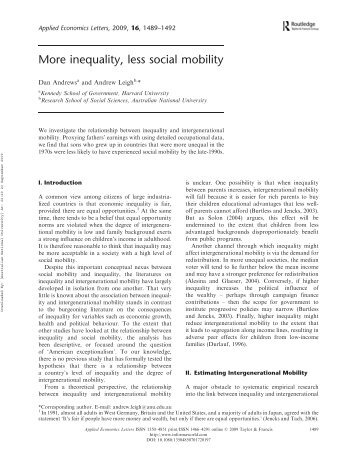 More inequality, less social mobility - Economics for public policy
