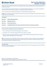 Contents Agri Lending Application Republic of Ireland - Ulster Bank