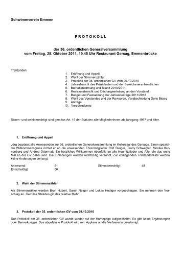 GV Protokoll - Schwimmverein Emmen