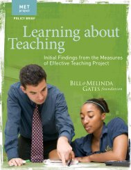 Initial Findings from the Measures of Effective Teaching Project