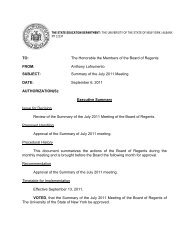 the state education department / the university of ... - Board of Regents