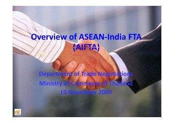 f d Overview of ASEAN-India FTA (AIFTA)