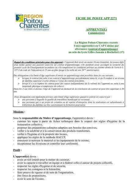 Fiche De Poste App 2271 Apprenti E Ra C Gion Poitou Charentes