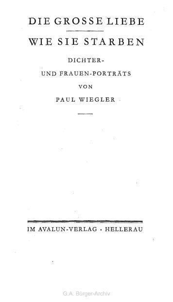 Schwester - Leben und Werk des Dichters Gottfried August Bürger
