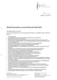 Aktuelle Informationen aus dem Steuerrecht April 2012 - B & P ...