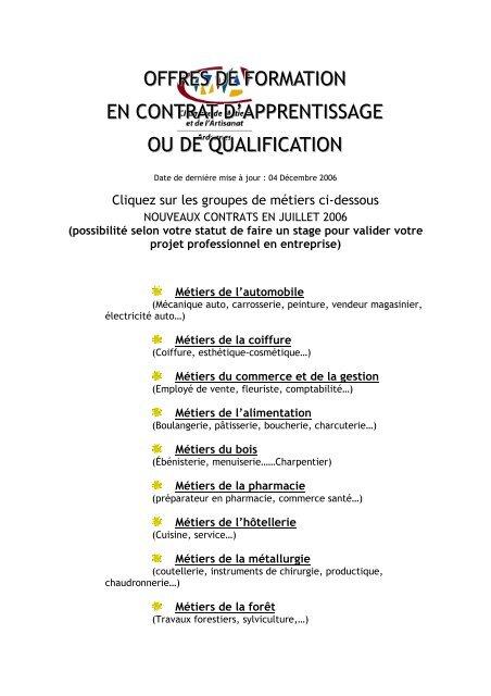 Offres De Formation En Contrat D Apprentissage Ou De Qualification