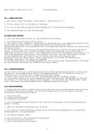 Neue Arbeit – Neue Kultur e.V. Vereinssatzung §1 Name und Sitz 1 ...