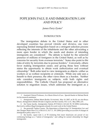 pope john paul ii and immigration law and policy - Ave Maria School ...