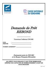 Demande de Prêt REBOND - Caisse Nationale du Gendarme