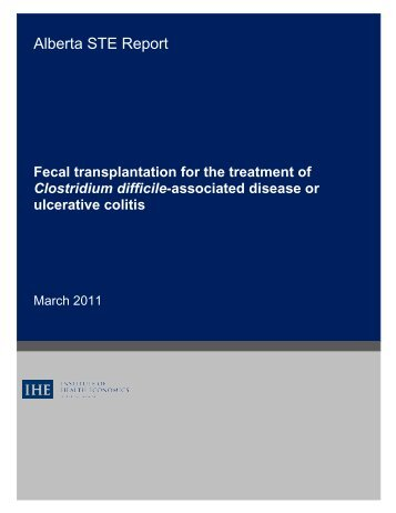 Fecal Transplantation FinalReport.pdf - Institute of Health Economics