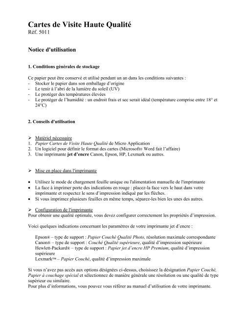 Guide Dutilisation Du Papier