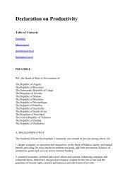 Sadc Declaration on Productivity - International Democracy Watch
