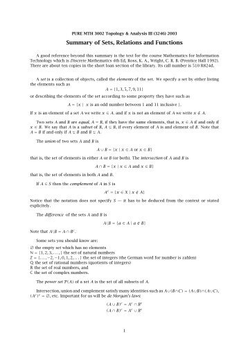 Summary of Sets, Relations and Functions