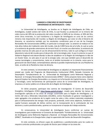 LLAMADO A CONCURSO DE INVESTIGADOR UNIVERSIDAD DE ...