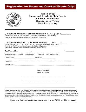 B&C Registration - Boone and Crockett Club