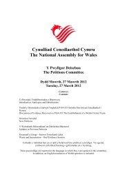Cynulliad Cenedlaethol Cymru The National Assembly for Wales Y ...
