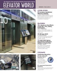 COVER STORY: FEATURES: COLUMNS: - Elevator World