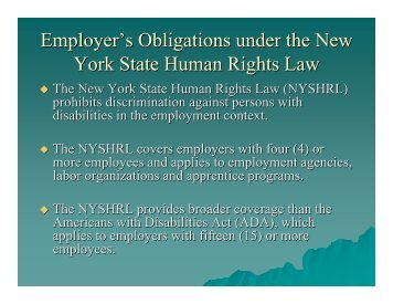 Employer's Obligations under the New York State Human Rights Law