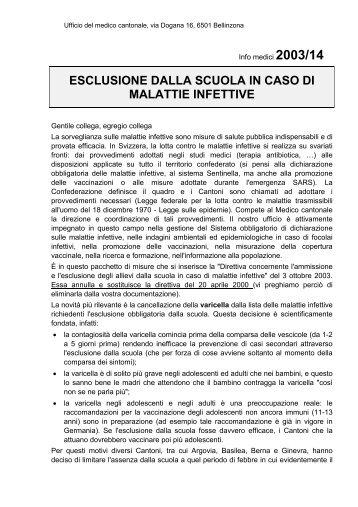esclusione dalla scuola in caso di malattie infettive - Repubblica e ...
