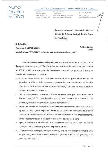 Requerimento sobre venda antecipada - Nuno Oliveira da Silva