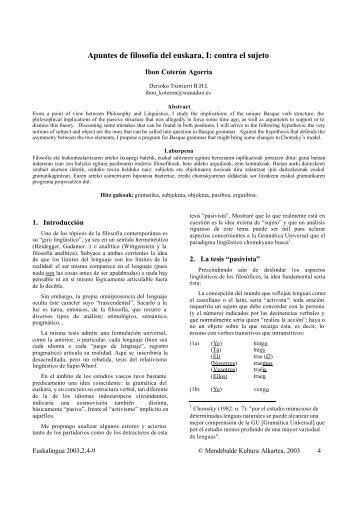 Apuntes de filosofía del euskara, I: contra el sujeto - Mendebalde