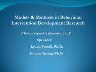 Models & Methods in Behavioral Intervention Development Research