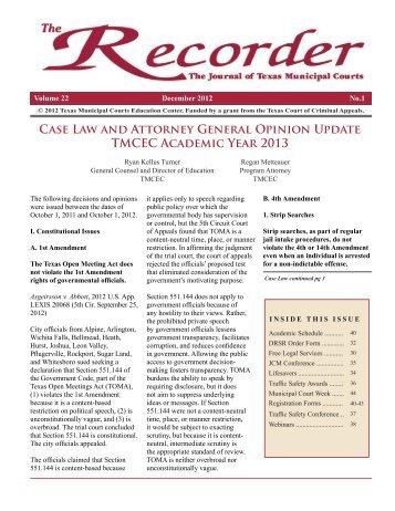Recorder Vol. 22 No 1.pdf - Texas Municipal Courts Education Center