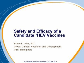 Safety and Efficacy of a candidate rHEB vaccines - Viral Hepatitis ...