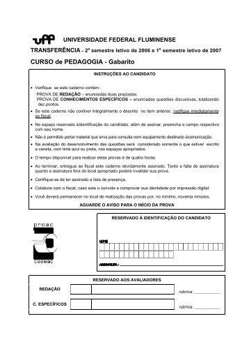 CURSO de PEDAGOGIA - Gabarito - Uff