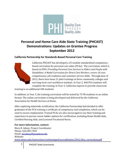 Personal And Home Care Aide State Training Phcast Phi