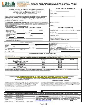 Cmgdl Genetic Test Requisition Form - The Dr. John T. Macdonald