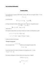 Dr. L. Krekeler Mathematik I Komplexe Zahlen