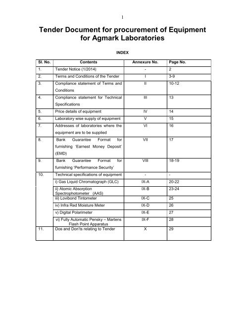 Tender Document for procurement of Equipment for     - Agmarknet