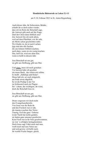 Homileische Büttendede (PDF-Datei) - Pfarrei St. Anton Regensburg