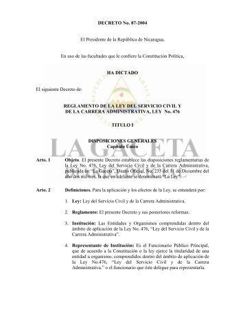 Decreto No. 87-2004 - Reglamento Ley de Servicio Civil